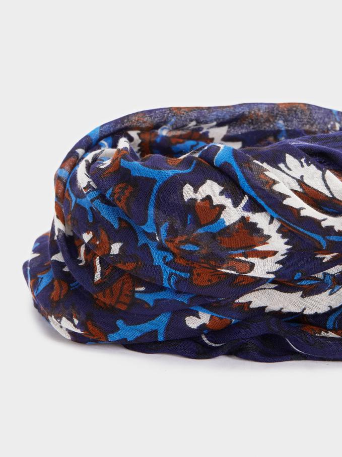 Floral Print Modal Scarf, Blue, hi-res
