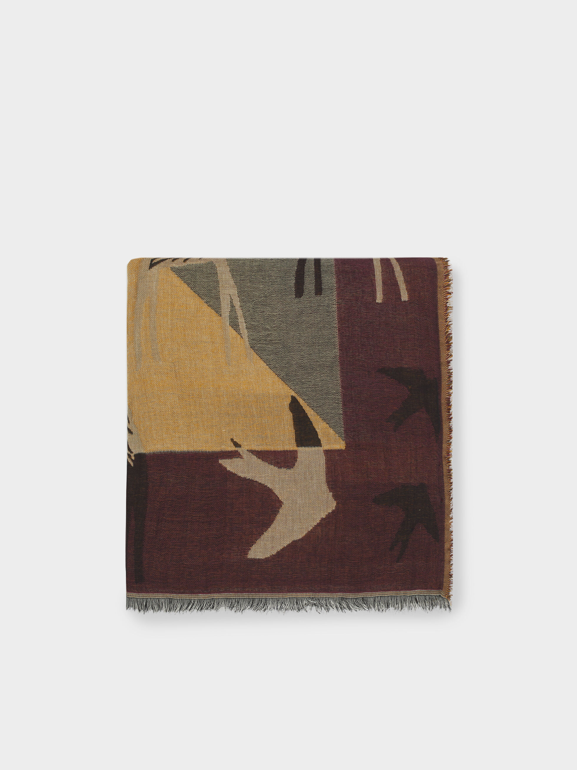 Printed Cotton Square Scarf, Bordeaux, hi-res