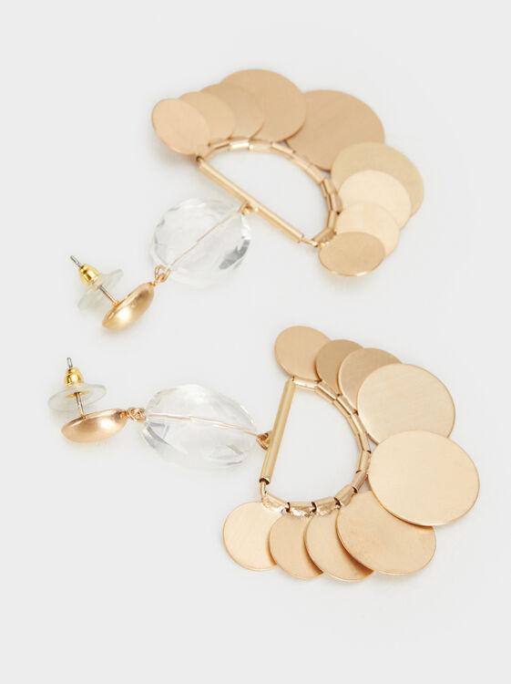 Medallion Dangle Earrings, Golden, hi-res