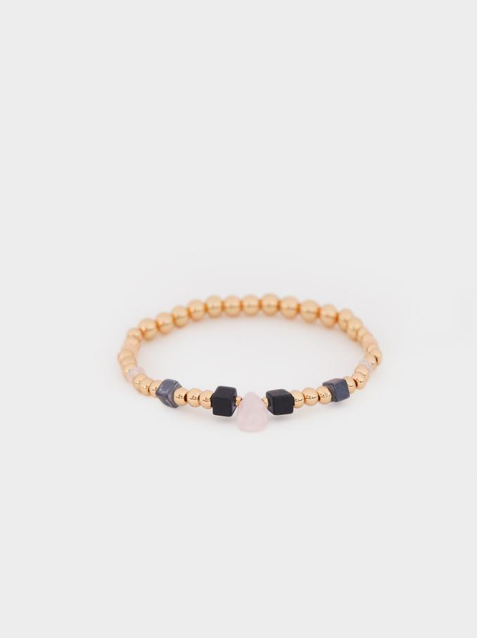Gold Elasticated Bracelet With Gems , Multicolor, hi-res