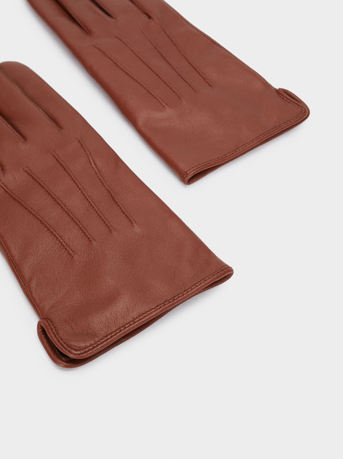 Leather Gloves, Brown, hi-res
