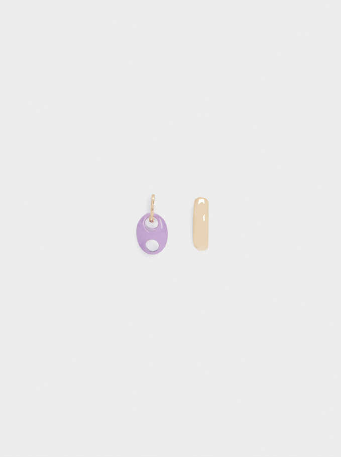 Set Of Hoop Earrings With Pendant, Golden, hi-res