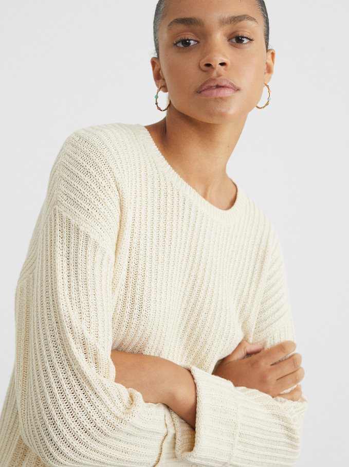 Knitted Sweater, Ecru, hi-res