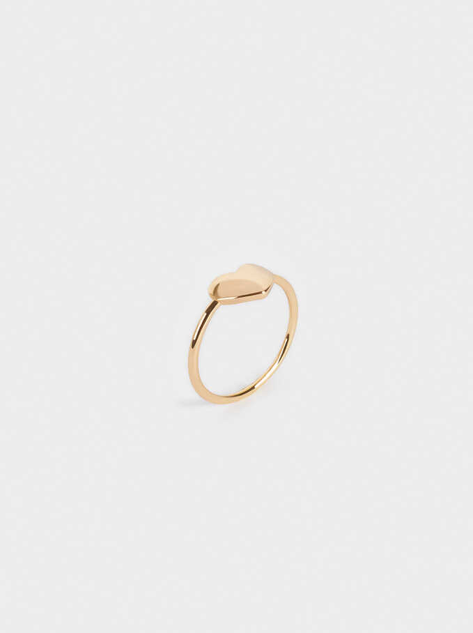 Pinky Finger Ring With Heart, Golden, hi-res