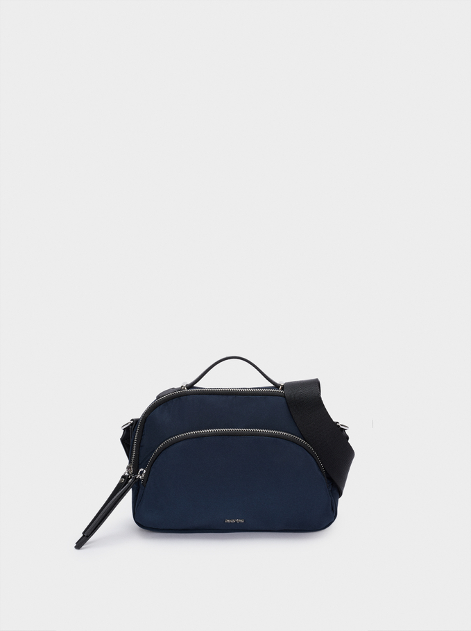 Nylon Crossbody Bag With Outer Pocket, Navy, hi-res