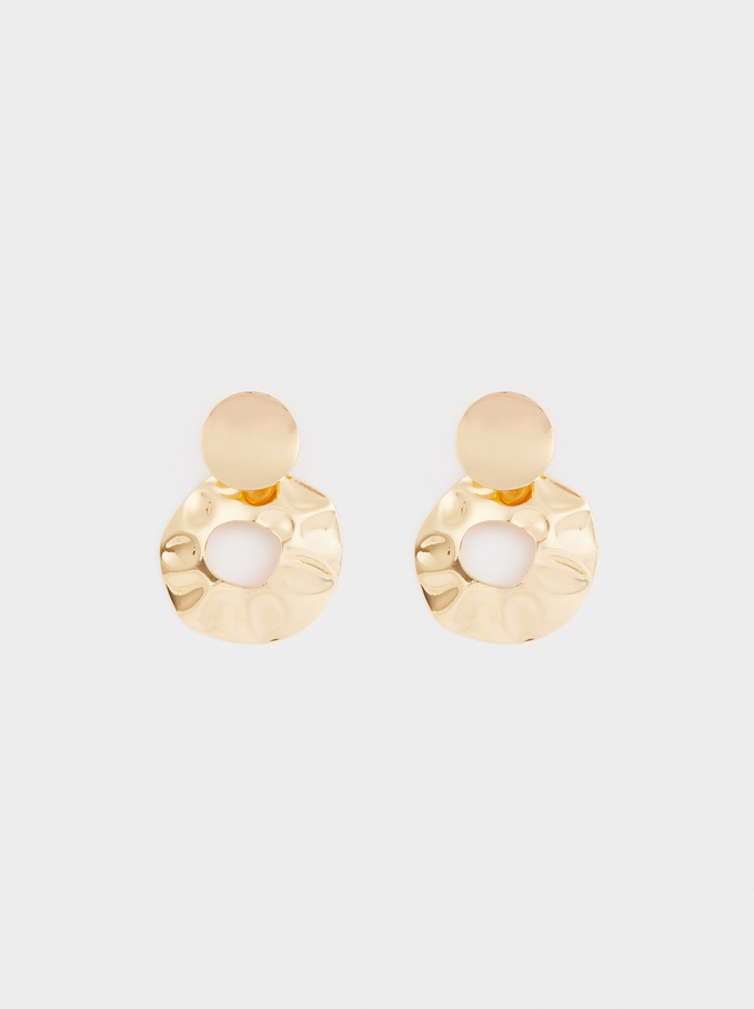 Medium Gold Circular Earrings, Golden, hi-res