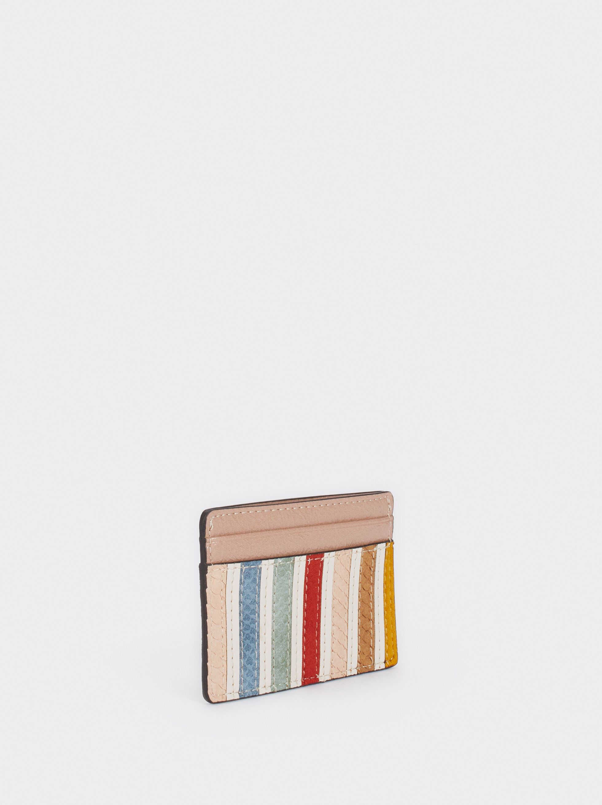 Multicoloured Card Holder, Ecru, hi-res