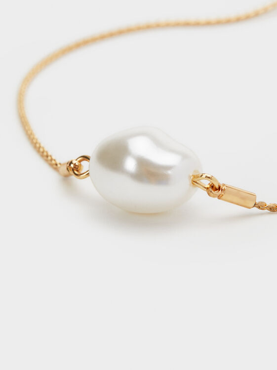 Fancy Pearls Adjustable Bracelet, White, hi-res