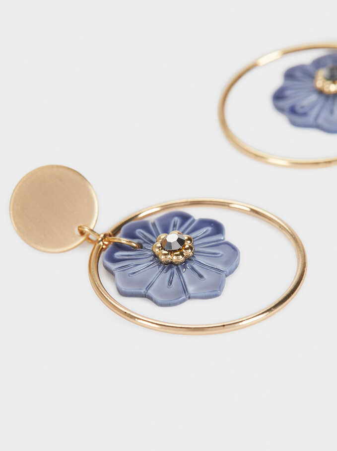 Medium Gold Flower Earrings , Multicolor, hi-res