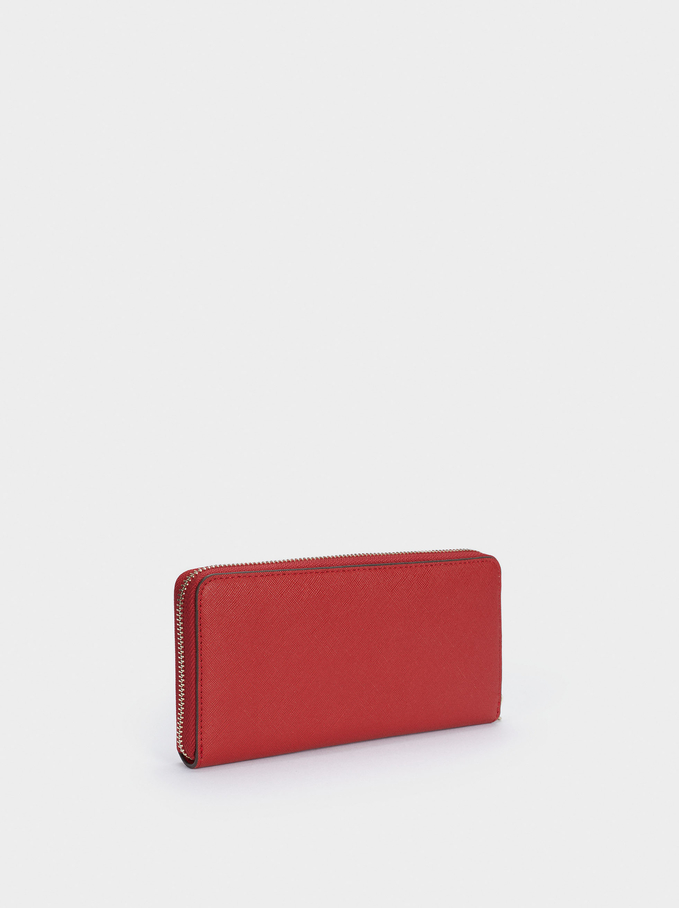 Embossed Wallet With Handle, Red, hi-res