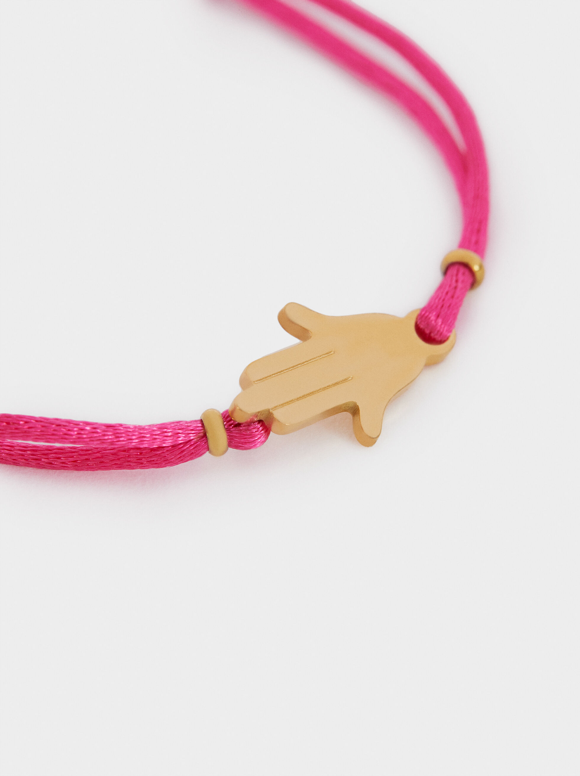 Adjustable Cord Bracelet With Hand Charm, Pink, hi-res