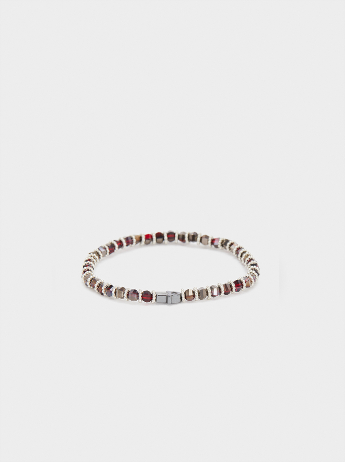 Elastic Bracelet With Multicoloured Crystals, Bordeaux, hi-res