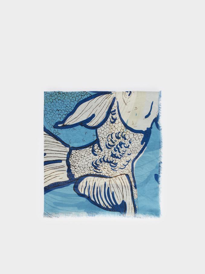 Fish Print Scarf, , hi-res