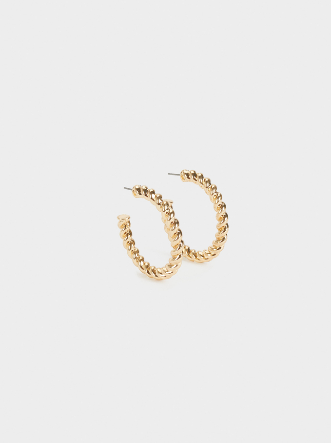 Intertwined Hoop Earrings, Golden, hi-res