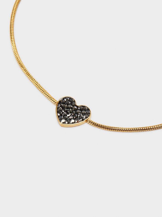 Bracelet Réglable En Acier Cœur, Doré, hi-res