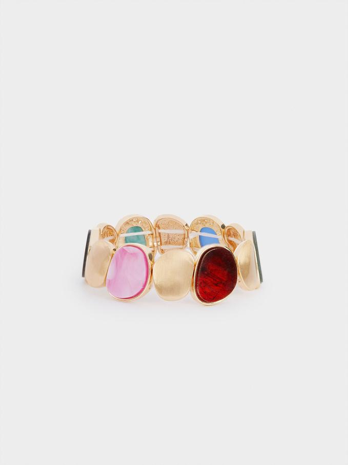 Elastic Bracelet With Resin Details, Multicolor, hi-res