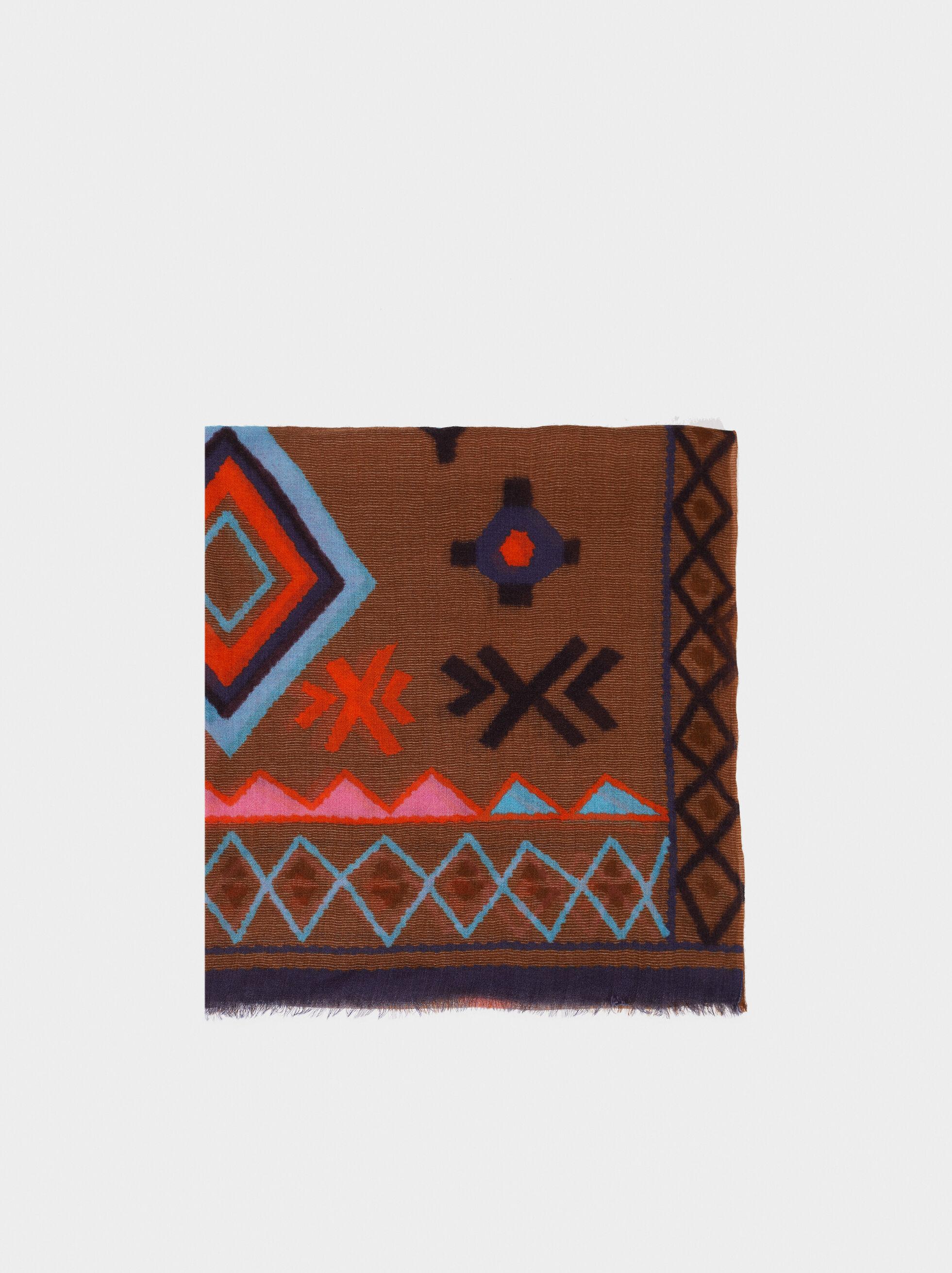 Printed Wool Scarf, , hi-res
