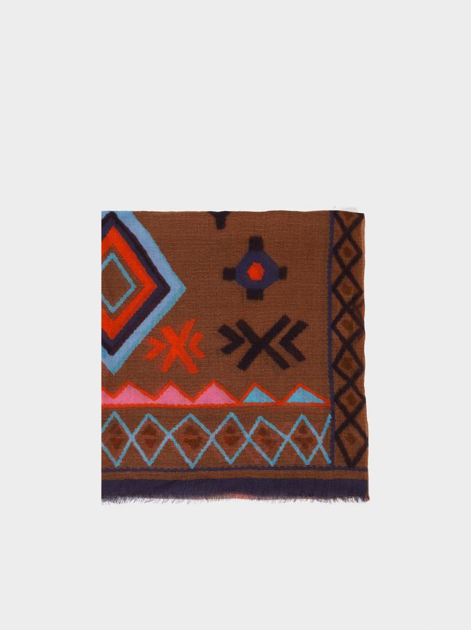 Printed Wool Scarf, Camel, hi-res