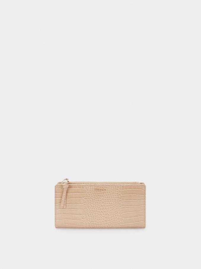 Large Embossed Animal Print Wallet, Beige, hi-res