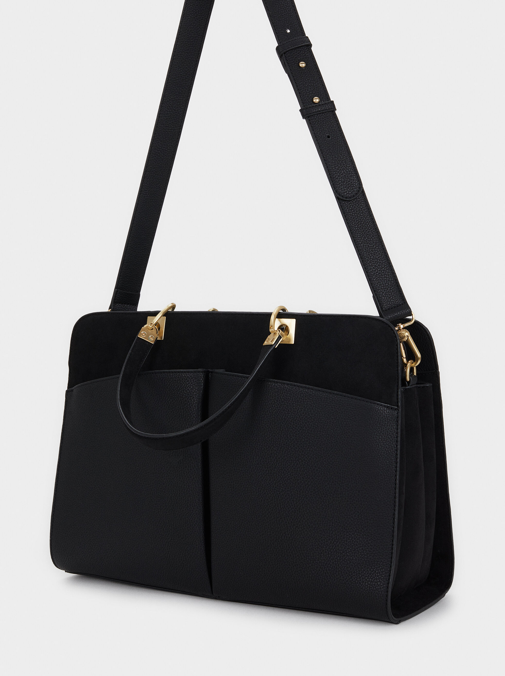 Briefcase With An Inner Pocket, Black, hi-res