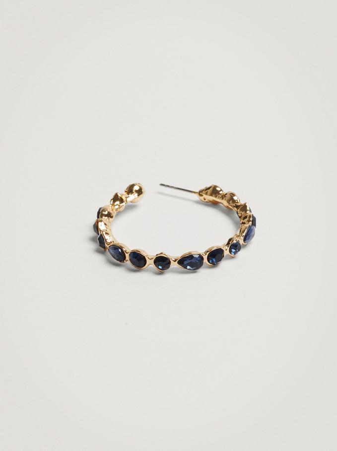 Hoop Earrings With Crystals, Blue, hi-res