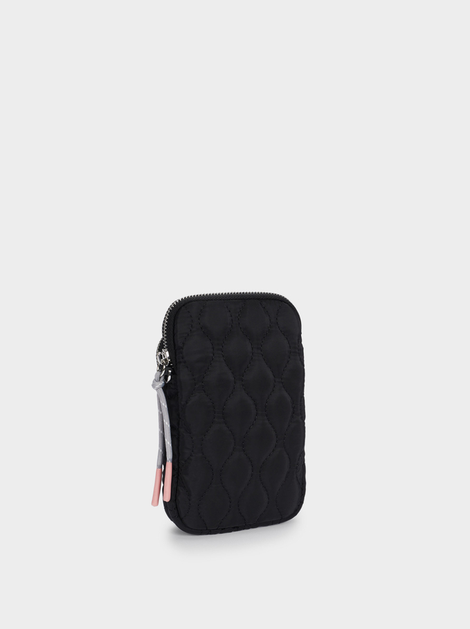 Quilted Nylon Mobile Phone Case, Black, hi-res