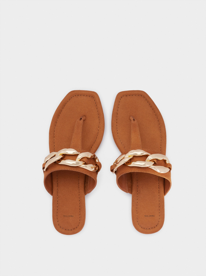 Flat Sandals With Chain, Camel, hi-res