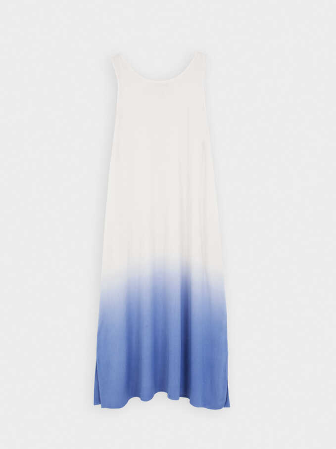 Strap Round Neck Dress, Blue, hi-res