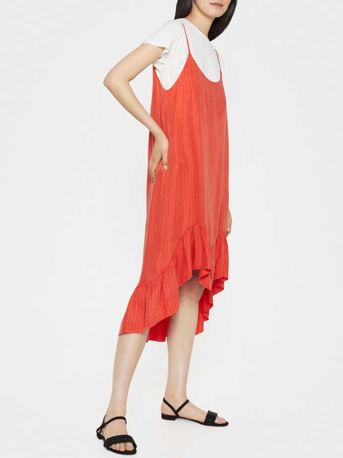 Strappy Dress With Ruffle Trim, Orange, hi-res