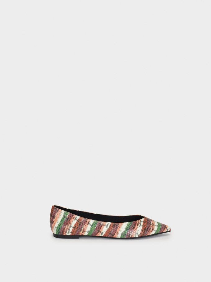 Snakeskin Embossed Ballerinas, Multicolor, hi-res