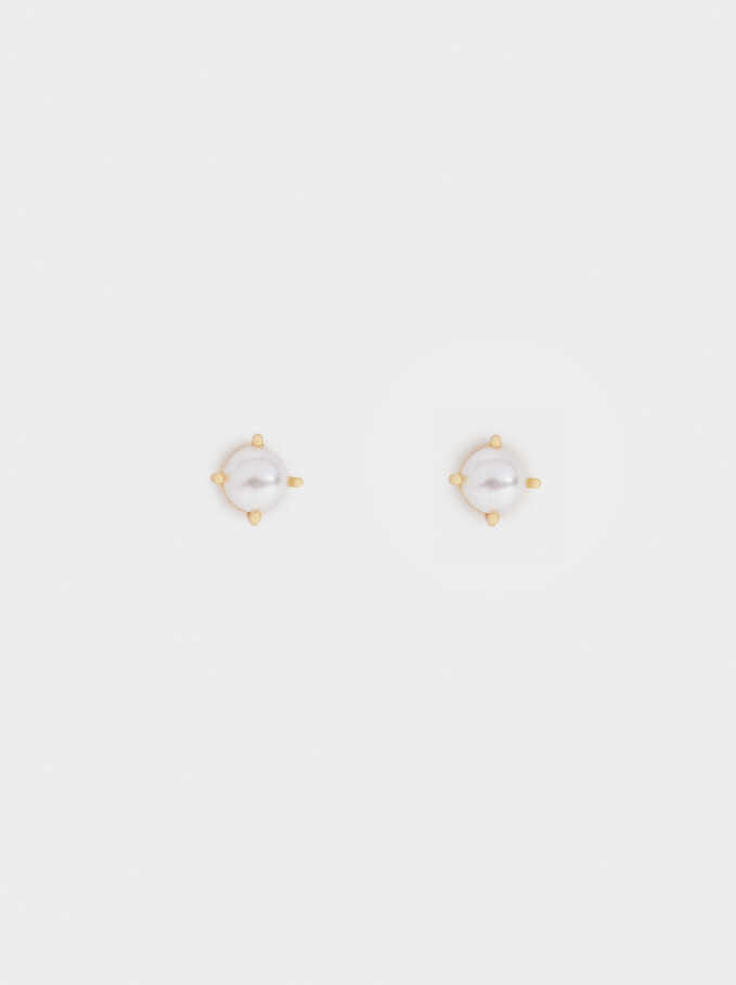 Short 925 Silver Earrings With Faux Pearls, Beige, hi-res