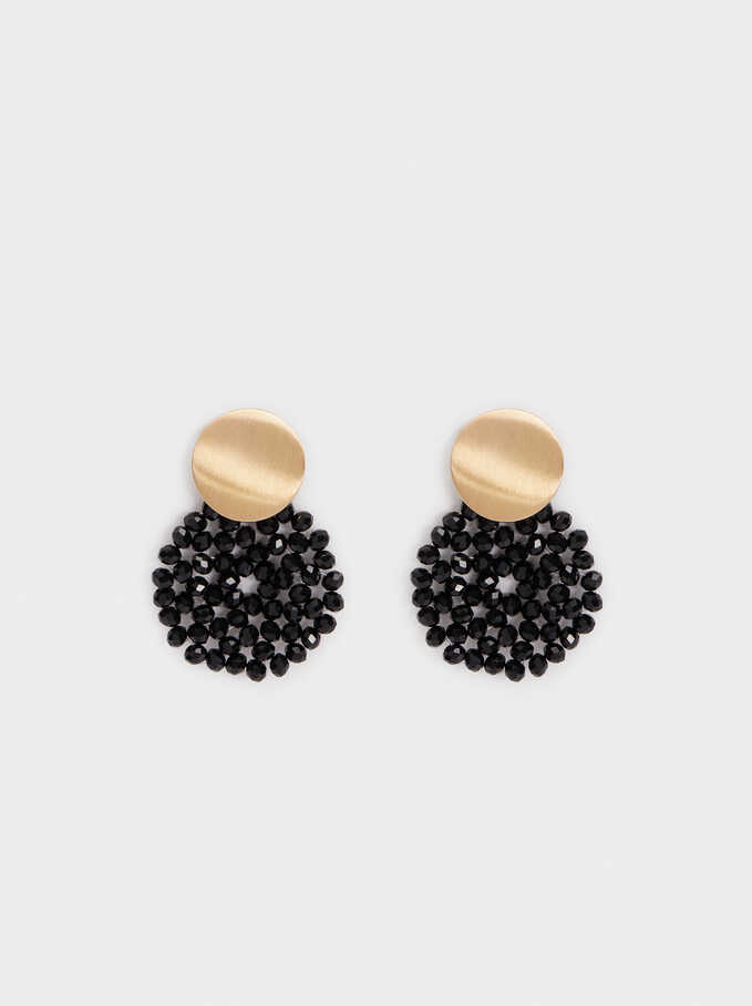 Long Rose Gold Earrings With Shell Detail, Black, hi-res