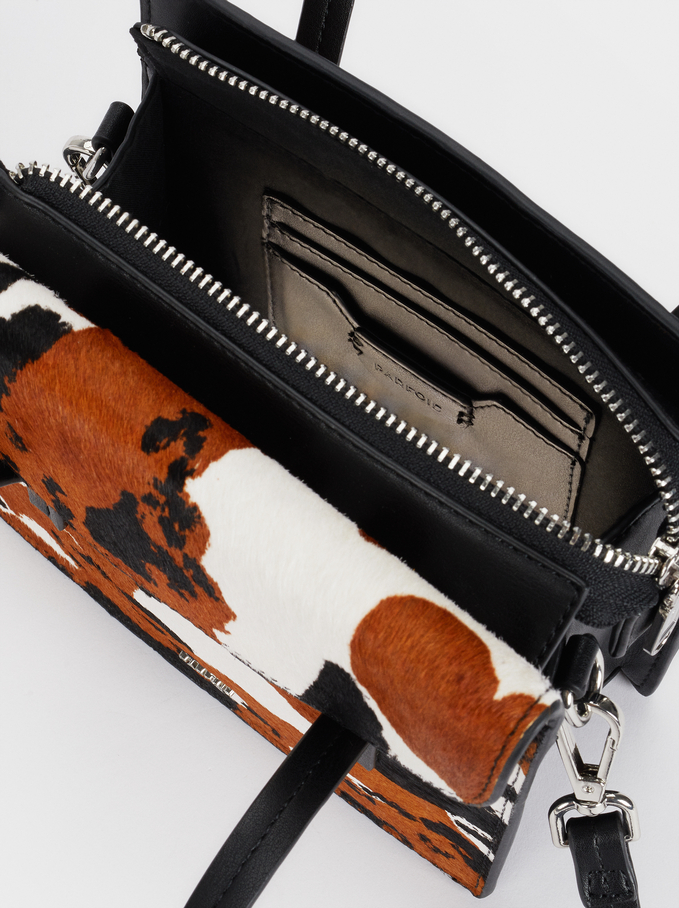 Leather Handbag With Crossbody Strap, Black, hi-res
