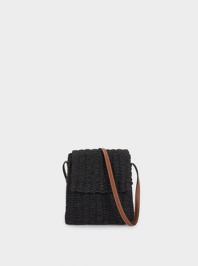 Raffia Shoulder Bag With Adjustable Handle, Black, hi-res