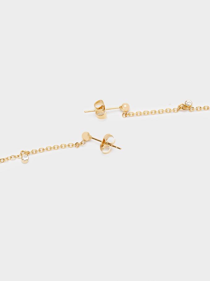 Long Golden Stainless Steel Earrings, Golden, hi-res