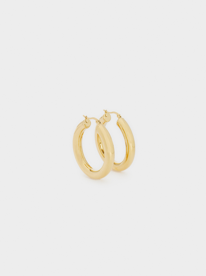 Medium Stainless Steel Gold Hoop Earrings, Golden, hi-res
