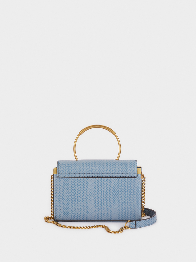 Crossbody Bag With A Rounded Handle, Blue, hi-res