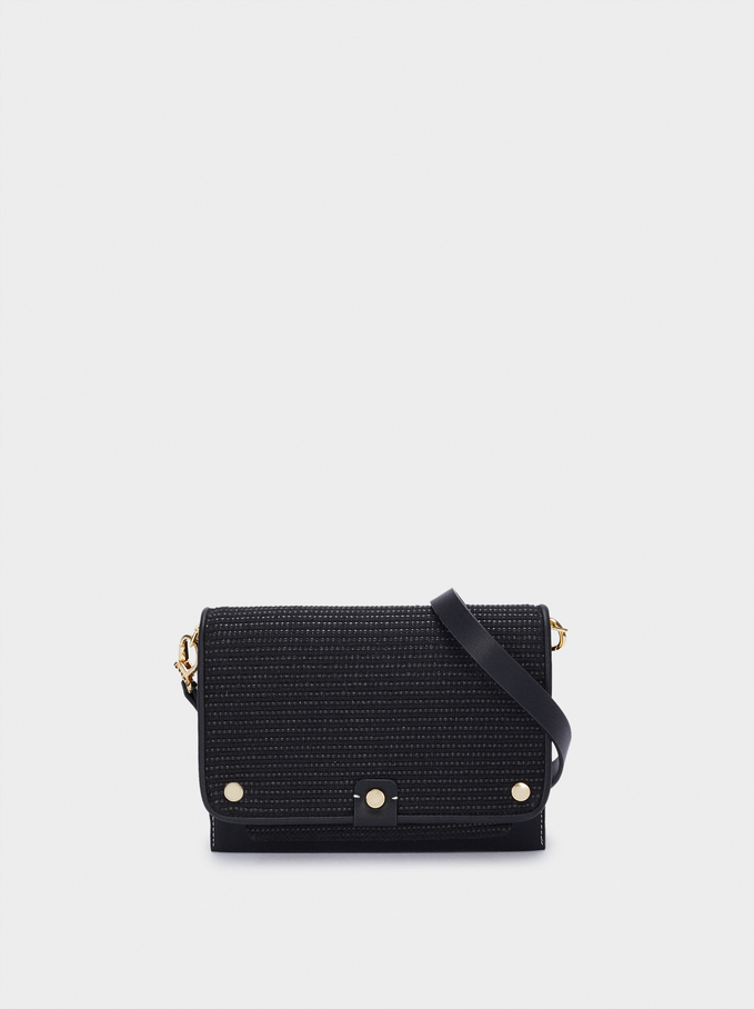 Crossbody Bag With Matching Front Flap Closure, Black, hi-res