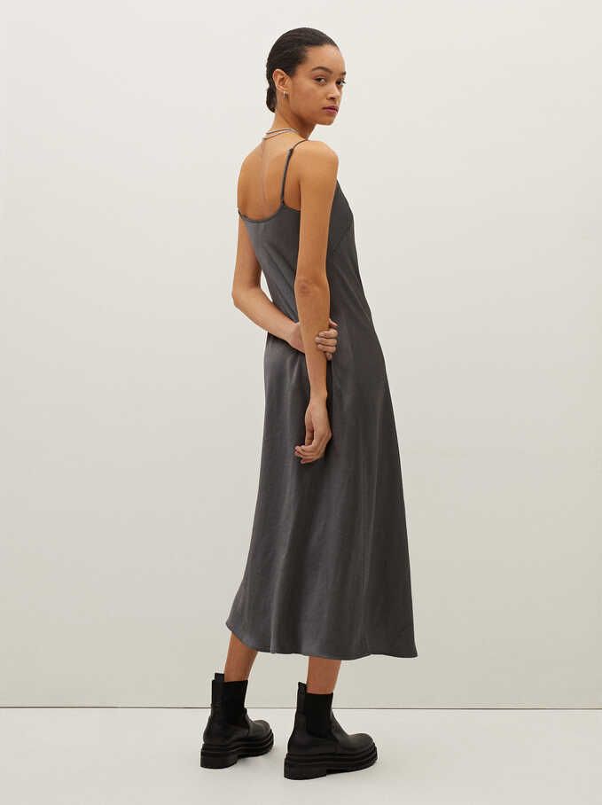 Sleeveless Flowing Dress, Grey, hi-res