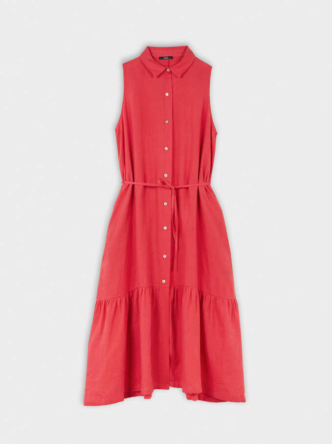 Linen Shirt Dress, Red, hi-res