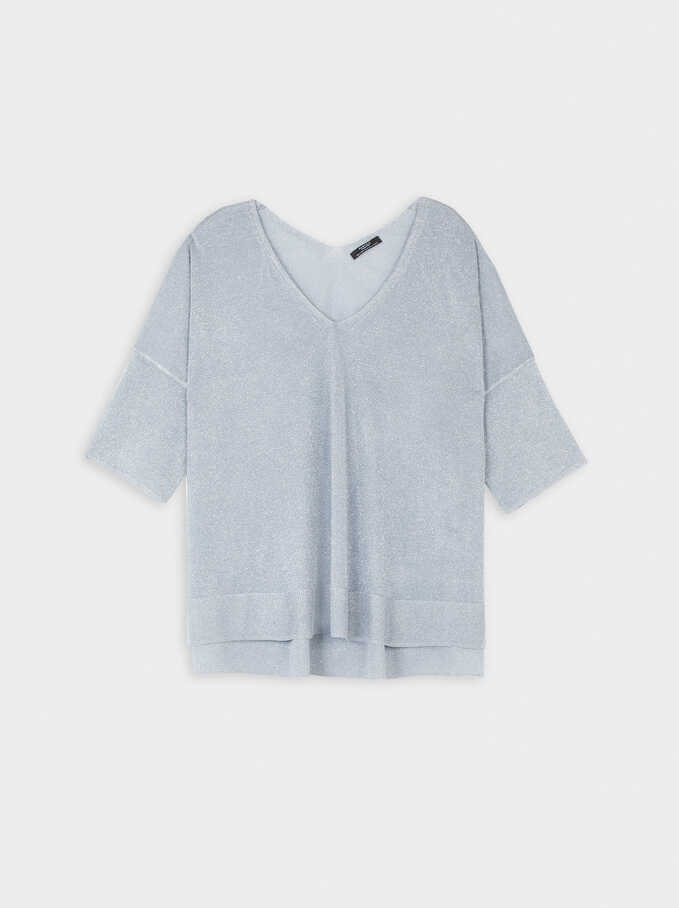 Oversize V-Neck Sweater, Grey, hi-res