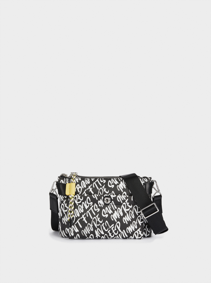 Printed Nylon Crossbody Bag, Black, hi-res