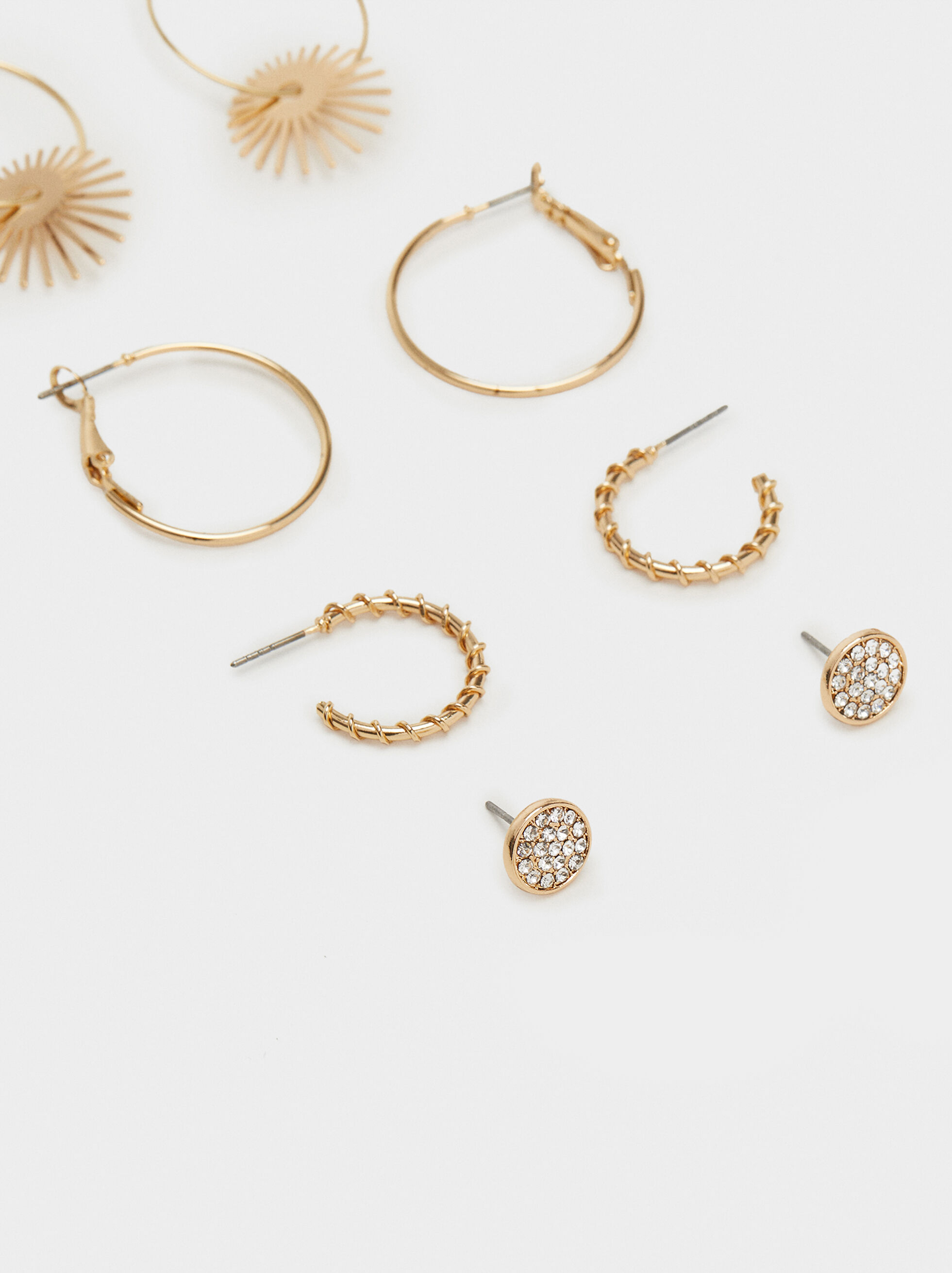 Set Of Basic Hoop Earrings, Golden, hi-res