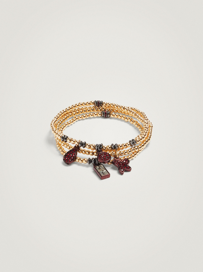 Set Of Elastic Bracelets With Charms And Beads, Bordeaux, hi-res
