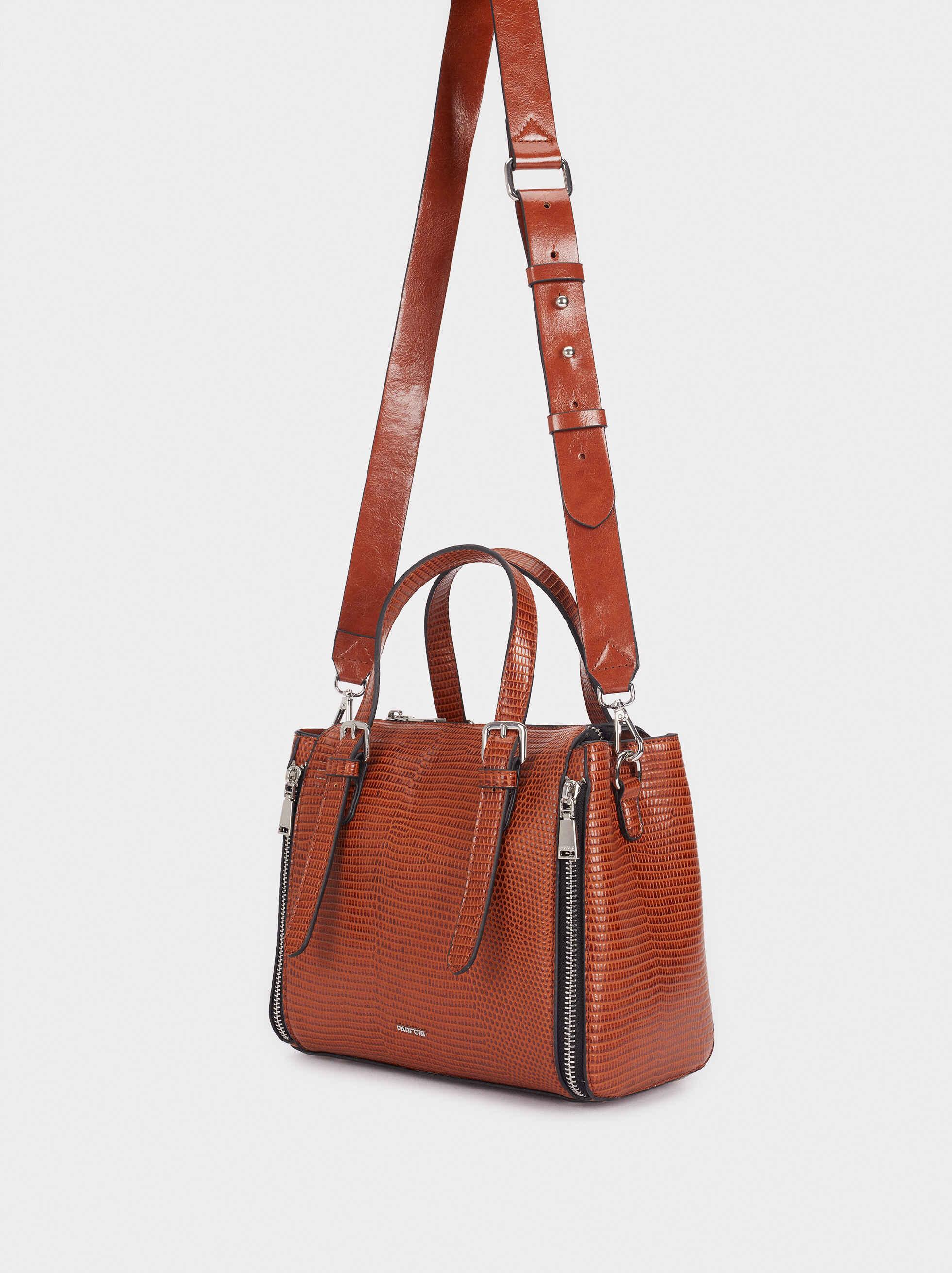 Embossed Animal Print Tote Bag With Zip Detailing, Camel, hi-res