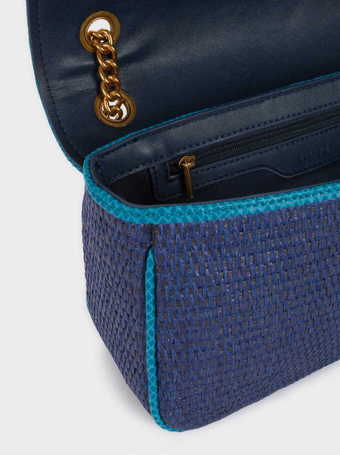 Bolso Bandolera Textura Rafia Flecos, Azul, hi-res