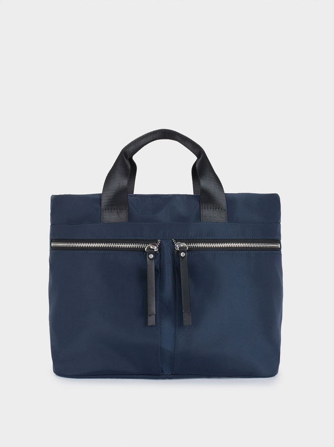 Nylon Tote Bag With Pockets, Navy, hi-res