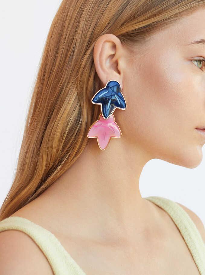 Long Resin Earrings, Multicolor, hi-res
