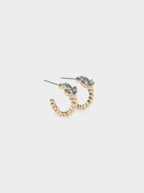 Small Rhinestone Hoop Earrings, , hi-res