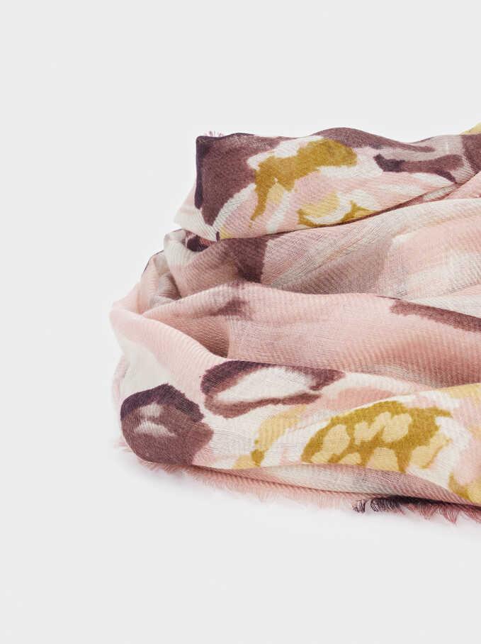 Pañuelo Estampado Floral, Rosa, hi-res